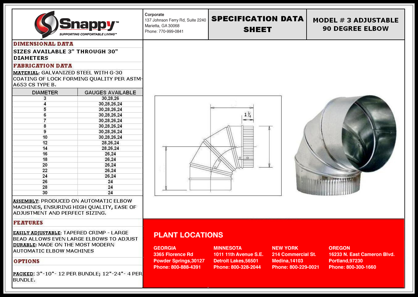 Product Specs Snappy Co